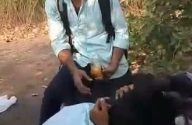 Image desi Bhatinda college girl kissing on moped in woods